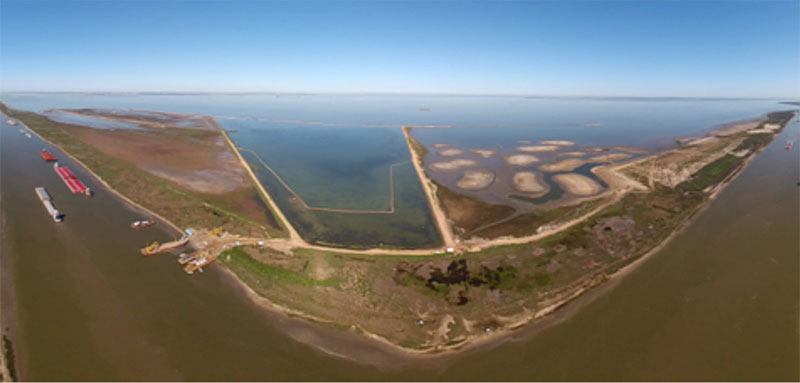 Bolivar Marsh in Galveston, TX during Phase II of the modernization project