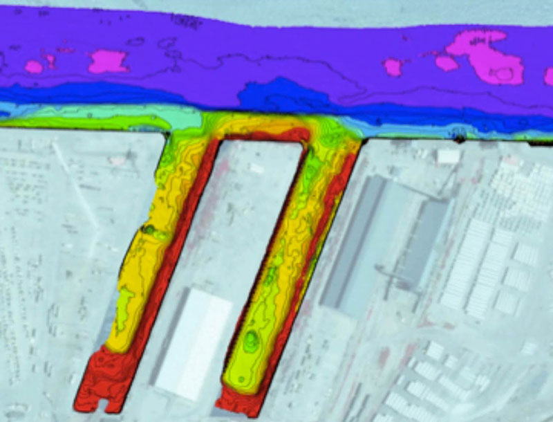 100% multibeam coverage of wharves as part of an annual pre-hurrican season condition survey