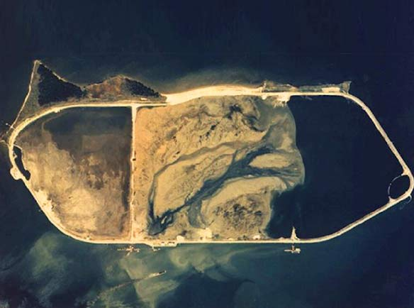 Hart Miller Island is located in the Chesapeake Bay near the Port of Baltimore