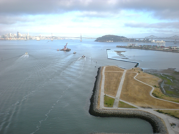 Oakland Inner Harbor Channel and MHEA; San Francisco and Oakland-San Francisco Bay Bridge in Background